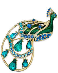 Charter Club Gold Tone Blue Glass Stone Peacock Pin