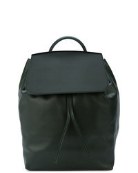Dark Green Leather Backpack