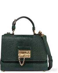3361fa591ed8 ... Dolce   Gabbana Monica Small Lizard Effect Leather Shoulder Bag Green