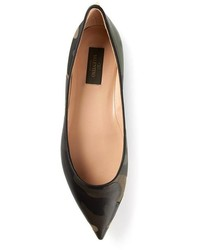 Dark Green Leather Ballerina Shoes