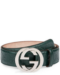 Gucci Interlocking G Buckle Leather Belt