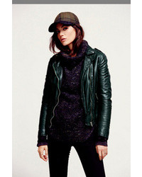 Kim Cattrall wearing Dark Green Leather Biker Jacket, White and ...