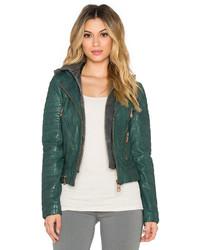 Women S Dark Green Leather Biker Jackets By Doma Women S Fashion