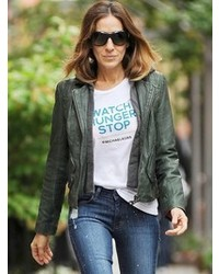 8b67c090d2f6a ... Doma Leather Hooded Biker Jacket In Bottle Green As Seen On Sara  Jessica Parker And Ashley