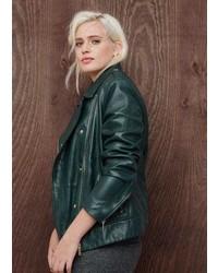 Violeta BY MANGO Zip Detail Leather Biker Jacket