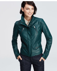 Green Leather Bomber Jacket