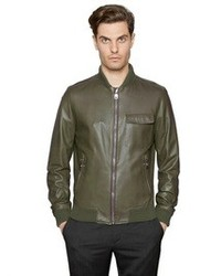 Dark Green Leather Bomber Jackets for Men | Men's Fashion