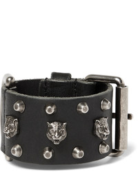 Gucci Tiger Embellished Leather Bracelet