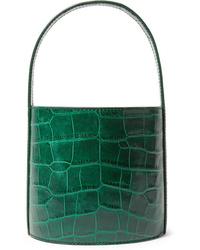 Staud Bissett Croc Effect Leather Bucket Bag