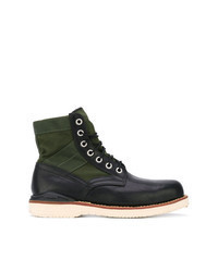 Dark Green Leather Casual Boots