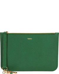 Dark Green Leather Clutch