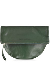 Mm6 leather rounded clutch medium 149176