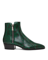 Balmain Green And Black Python Mike Boots