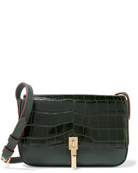 Elizabeth and James Cynnie Micro Croc Effect And Leather Shoulder Bag Dark Green