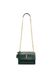 Saint Laurent Green Croc Medium Sunset Bag
