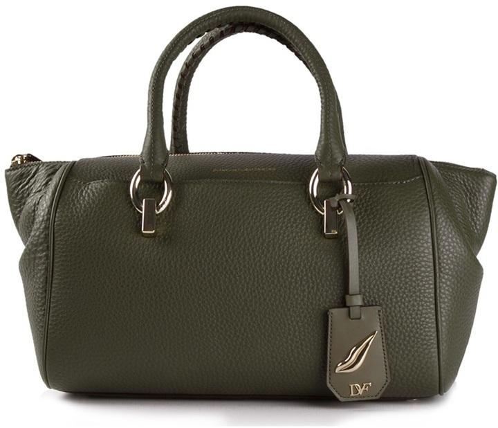 Sutra Small Duffle Cross Body Bag Dark Green Leather By Diane Von Furstenberg