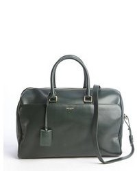 Forest green leather convertible top handle duffle bag medium 47096