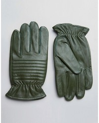 Barneys Originals Barneys Leather Biker Gloves In Khaki