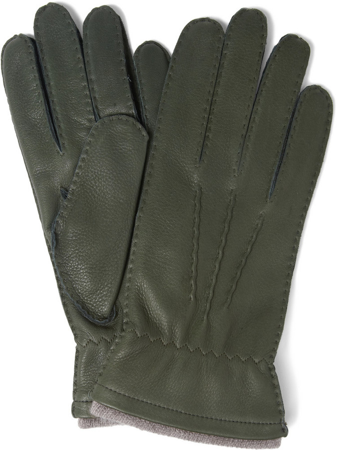 f93c8bb1b ... Dark Green Leather Gloves Dents Cashmere Lined Leather Gloves ...