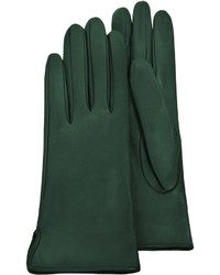 Forzieri Forest Green Calf Leather Gloves Wsilk Lining