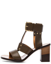 Chloé Chloe Gladiator Leather Heels In Military Green