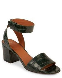 Givenchy Paris Croc Embossed Leather Block Heel Sandals