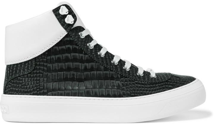 74e3fe4a5124 Jimmy Choo Jimmy Choo Argyle Croc-Effect Leather High-Top Sneakers ...