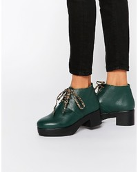 Dark Green Leather Lace-up Ankle Boots