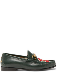 Gucci Roos Horsebit Appliqud Leather Loafers