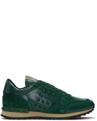 Dark Green Leather Low Top Sneakers