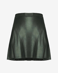 Derek Lam 10 Crosby Leather Flare Skirt Hunter Green