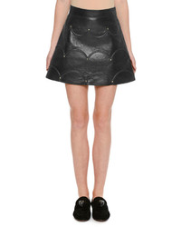 Valentino Scalloped Rockstud Leather A Line Miniskirt
