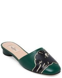 Valentino Panther Leather Mules