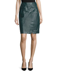 Faux wrap leather pencil skirt midnight forest medium 3705531
