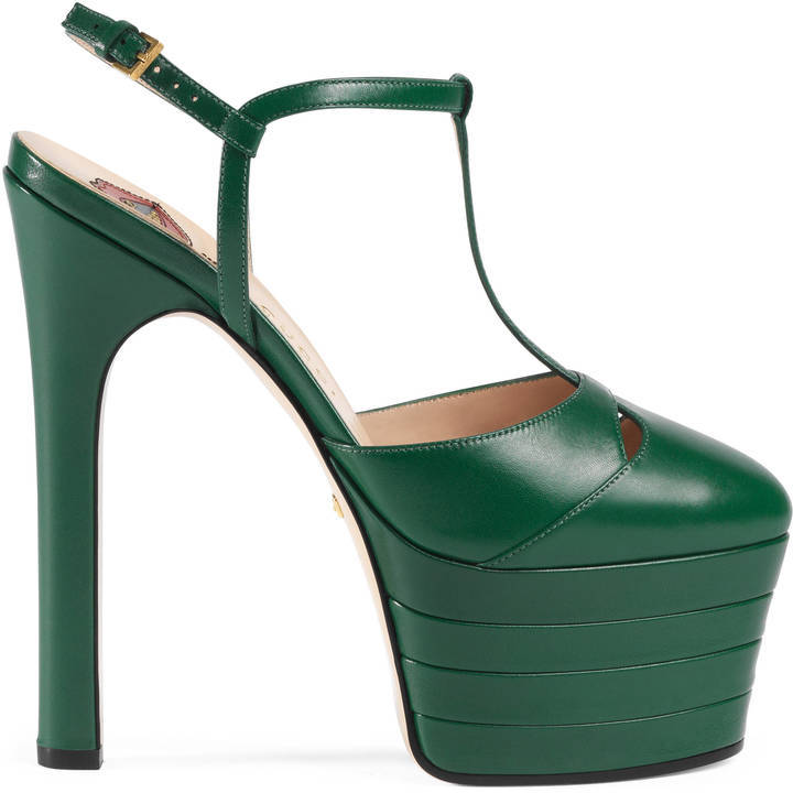 f4ecf679c8e6 ... Green Leather Pumps Gucci Leather Platform Pump ...