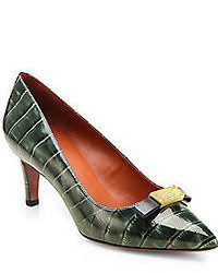 Marc by Marc Jacobs Tuxedo Crocodile Print Patent Leather Pumps
