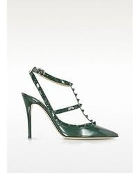 Valentino Rockstud Dark Green Leather Slingback Pump