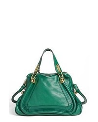 Dark Green Leather Satchel Bag