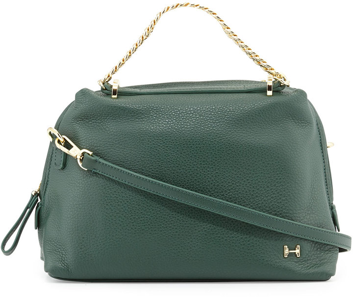 61b6672935df ... Halston Heritage Small Leather Satchel Bag Forest Green ...