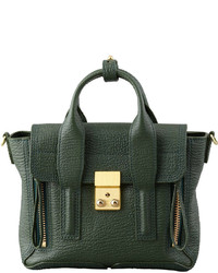 Mini pashli leather satchel dark green medium 225559