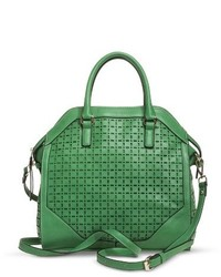 Moda Luxe Perforated Satchel Handbag With Removable Crossbody Strap