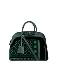 Burberry Prorsum Velvet And Leather Bowling Bag