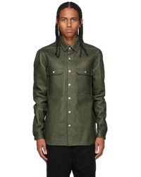 Rick Owens Green Leather Outershirt Jacket