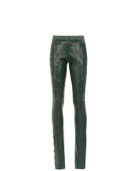 Dark Green Leather Skinny Pants