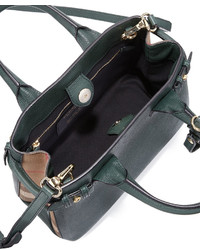 ... Burberry Banner Small House Check Derby Tote Bag Dark Bottle Green ... e1c4db27f8090