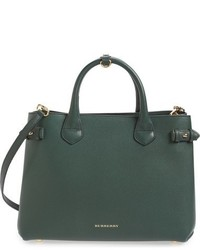 Burberry Medium Banner House Check Leather Tote Green