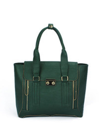 ChicNova Green Tote Bags With Double Zipped Detail