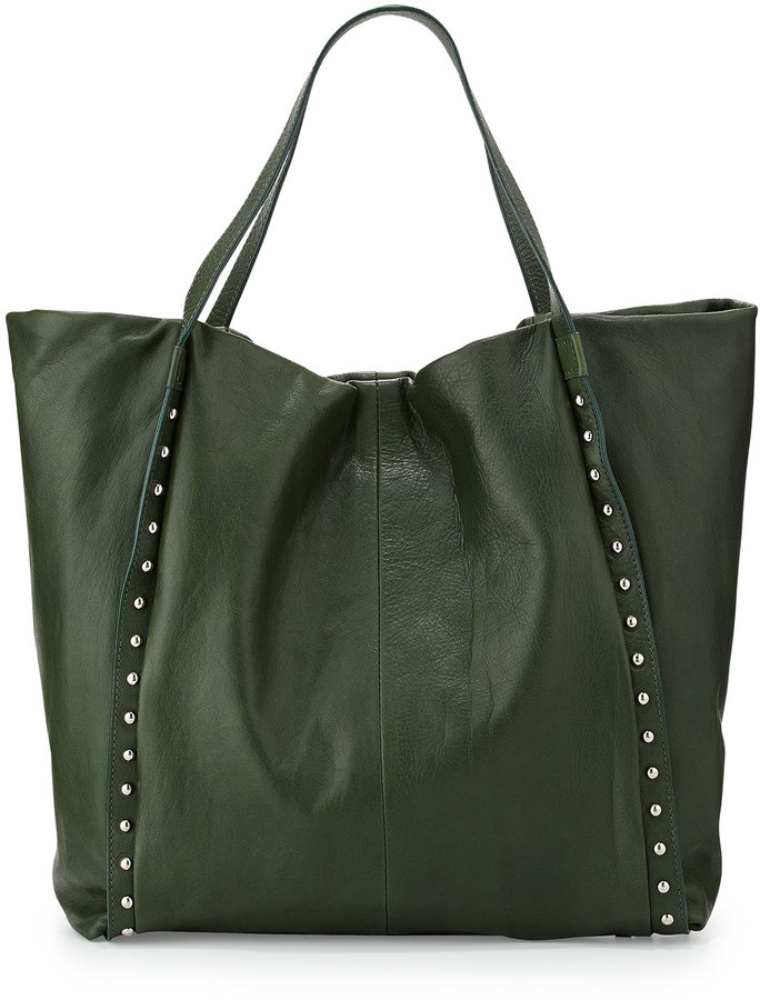 Neiman Marcus Made In Italy Stud Strap Leather Tote Bag Hunter ...