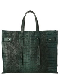 Petra croc embossed calfskin leather tote grey medium 5169277