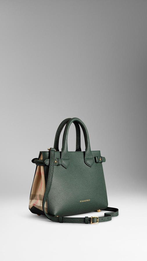 ... Dark Green Leather Tote Bags Burberry The Small Banner In Leather And House  Check ... e4b0ed2f4d49b